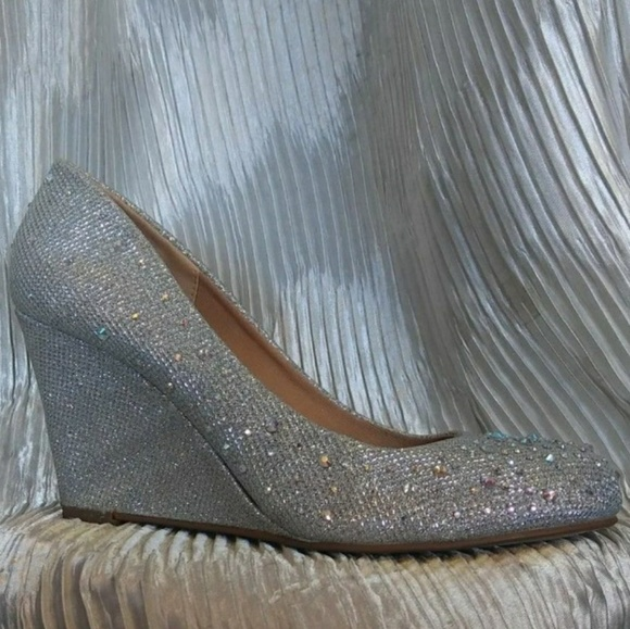 29582e7716 Forever Shoes | Low Heel Wedge Silver Dress | Poshmark